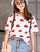 Women's Casual Inelastic Short Sleeve Regular Blouse (Cotton Blends)