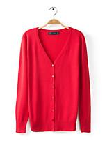 Women's Blue/Pink/Red/Black/Green/Orange/Yellow/Beige/Gray Cardigan , Vintage/Casual/Work Long Sleeve
