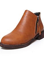Zapatos de mujer - Tacón Robusto - Botines / Punta Redonda / Punta Cerrada - Botas - Exterior / Oficina y Trabajo / Casual - Semicuero -