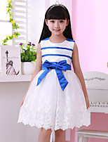 Girl's Summer Sleeveless Floral Lace Stripes Dresses (Cotton Blends)