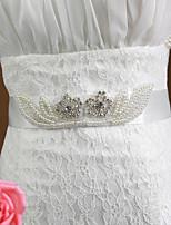 真珠/ラインストーン付きサテンの結婚式/パーティー花嫁エレガントサッシ