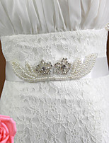 Satin Wedding/Party Bride Elegant Sash With Pearls/Rhinestone