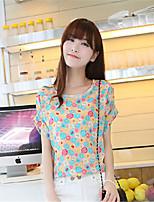 Women's Casual Loose Printed Chiffon Short Sleeve T-shirt Printing Bat Sleeve Chiffon Blouse Large Size