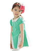 Summer Baby Kids Girl's Lace Pearl Doll Neck pleated Dresses (Cotton Blends)