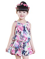 Fashion Summer Kids Girls Floral Camisole Tops + Shorts Clothing Sets (Cotton Blends)