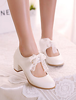 Women's Shoes Faux Chunky Heel Heels/Round Toe/Closed Toe Pumps/Heels Wedding/Dress/Casual Blue/Pink/White