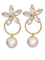Women's Classic Elegant Zircon Flowers Pearl Stud Earrings HJ0061
