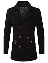 Men's Casual/Work/Formal Pure Long Sleeve Regular Coat