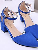 Women's Shoes OL Chunky Heel Pointed Toe PumpsBlack/Blue/Pink/Purple