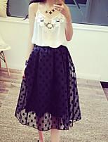 Women's Polka Dot White/Black Skirts , Casual Midi