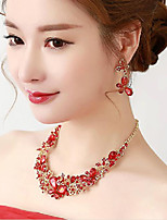 Chinese Red Peafowl Rhinestones Titanium Jewerly Sets with Earrings