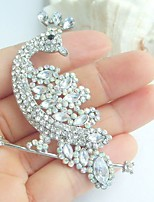 Women Accessories Silver-tone Clear Rhinestone Crystal Peacock Brooch Art Deco Crystal Brooch