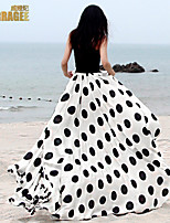 Verragee ® 2015 Summer In Europe And The Long Chiffon Skirts Big Pendulum Wave Point Dress Beach Dress Skirt
