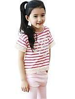 Summer Kids Girls T-shirts Hollow Lace Short Sleeves Striped Tops Tees (Cotton Blends)