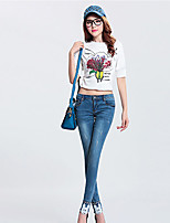 Women's Mickey Embroidery Rivets Jeans