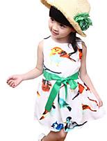 Fashion Summer Kids Girls Sleeveless Birds Printed Chiffon Casual Dresses (Cotton Blends)