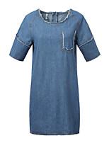 Women's Solid Denim Dress , Casual/Party/Work Round Neck Short Sleeve
