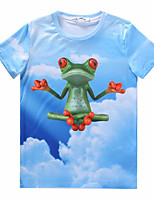 European Style TEE Digital Printing 3D T-shirt Flaky Clouds Frog Harajuku Sleeved T-shirt