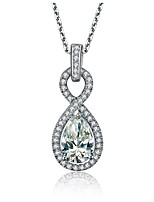 Drop Pendant 2 CT Sterling Silver Wedding Pendant for Women SONA Simulate Diamond Mounting 925 Necklace 45cm Free Gift