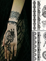 2 PC BlackLace Hena Body Tattoos Sticker For Girls,Women W306-311
