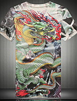 Men's V-neck Fashion Punk 3D Dragon Digital Printing  Short  Sleeved T-shirt