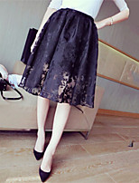 Women's Casual Inelastic Medium Knee-Length Skirts (Lace)