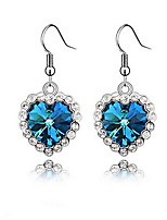 Sea Blue Heart Drop Earrings