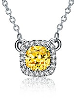 3CT 8*8mm SONA Simulate Golden Diamond Halo Style Pendant for Women Free 925 Necklace Sterling Silver Pendant Jewelry
