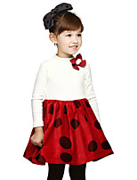 Baby Kids Girls Spring Fall Long Sleeved Flower Brooch Polka Dot Princess Party Dresses (Cotton Blends)