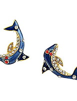 European And American Trade Glaze Dolphin Mermaid Legend Earring
