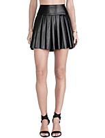 Women's Solid Black Skirts , Sexy Mini