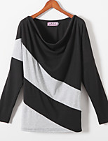 Women's Patchwork Black T-shirt , Round Neck Long Sleeve