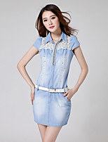Women's Casual/Bodycon/Lovely Beads Dianmonade Short Lace Jean Pants (Cotton / Demin)