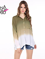 haoduoyi® Women's Simple Style Gradient Single Pocket Loose Shirt