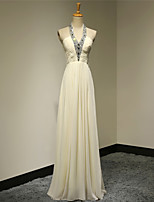 Formal Evening Dress A-line Halter Floor-length Chiffon Dress