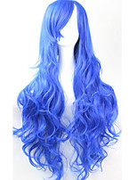 Cos Anime Bright Colored Wigs Long Curly Sapphire  Hair Wig 80 cm