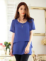 Women's Solid Blue/Pink Blouse , Round Neck Short Sleeve