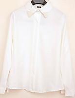 Women's Solid White Shirt , Shirt Collar Long Sleeve Beaded