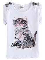 Girl's Short Sleeve Cute Cat Printing Kids Tees(Random Print)