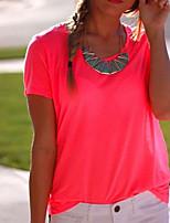 Women's Solid Pink T-shirt , Round Neck Short Sleeve