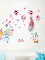 Wall Stickers Wall Decals , Creative Bathroom  Sticker with 4 Hooks