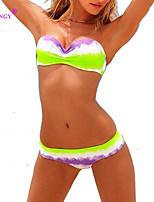 SYU®Women's Wireless/Padless Bra Color Block/Floral/Solid/Geometric Halter Bikinis (Nylon/Spandex)