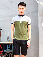 Men's Short Sleeve T-Shirt , Cotton/Polyester Casual/Sport Striped