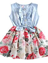 Summer Kids Girls Jean Denim Skirts Floral Ruffled Dresses (Cotton Blends)