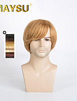 capless courte ligne droite de cheveux humains haut mono perruque hommes doux