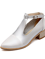 Women's Shoes Low Heel Heels/T-Strap/Pointed Toe Heels Office & Career/Party & Evening/Dress Black /Brown/Beige/Silver
