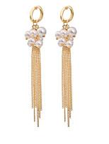Women's  Fashion Casual Pearl Elegant Tassel Long Earrings HJ0045