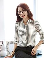 BIAOSHANG®Women's Work Plus Sizes Inelastic Long Sleeve Regular Blouse (Chiffon)