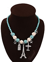 NEW Style Women's Eye-Catching Iron Tower A String Of Beads Hand Knitting Alloy  Necklace Wedding/Party  1PCS