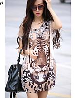 Women's Casual/Print Micro-elastic Short Sleeve Regular T-shirt (Silk)